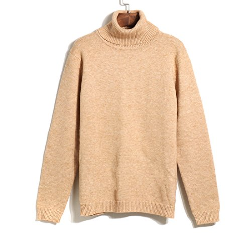 Women Solid Long Sleeve Turtleneck Sweater Stretchy Line Knit Turtleneck Sweater (beige) (Cable Sweaters Sweater Turtleneck Sale)
