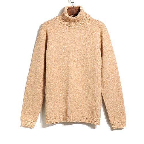 Women Solid Long Sleeve Turtleneck Sweater Stretchy Line Knit Turtleneck Sweater (beige) (Sale Sweater Turtleneck Cable Sweaters)