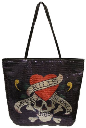 501bb573952a Image Unavailable. Image not available for. Color  ED HARDY Christian  Audigier Womens Tattoo Love Kills Slowly Sequins Tote Handbag Purse