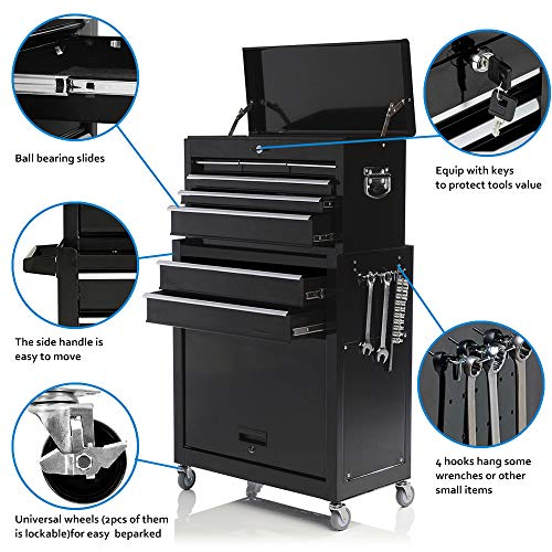 Tool Box Rolling 2 in 1 Portable Tool Chest Cabinet Top&Bottom Key Lockable Storage Toolbox with 4 Swivel Wheels (2pc with brake), 6-Sliding Drawers Removable Toolbox Organizer, Black by Long world (Image #3)