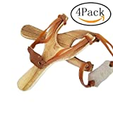 4 PACK hand-carved wooden slingshots with great handle holds - each sling shot is hand made and has a burned wood look!