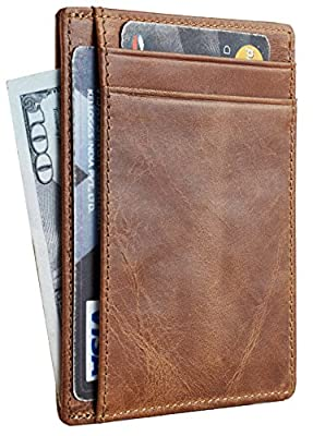 Travelambo RFID Front Pocket Minimalist Slim Wallet Genuine Leather Small Size