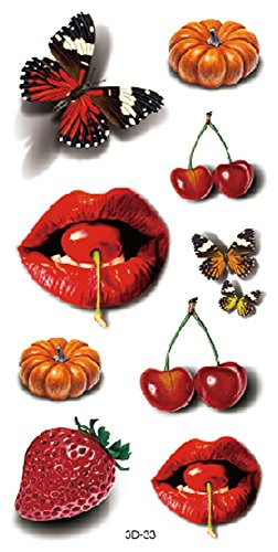 Tattoo Cherry (3D butterfly cherry strawberry lips temporary tattoo wristband wholesale)