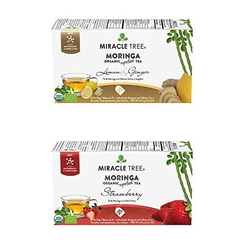 Miracle Tree – Organic Moringa Superfood Tea, 2 Pack Bundle, 2×25 Individually Sealed Tea Bags (Lemon & Ginger, Strawberry) – Medlancr.com