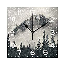 Naanle Stylish Banff National Park Foggy Mountains and Forest Print Square Wall Clock Decorative, 8 Inch Battery Operated Quartz Analog Quiet Desk Clock for Home,Office,School