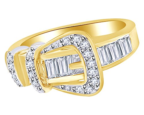 Jewel Zone US White Cubic Zirconia Belt Buckle Fashion Ring in 14k Yellow Gold Over Sterling Silver