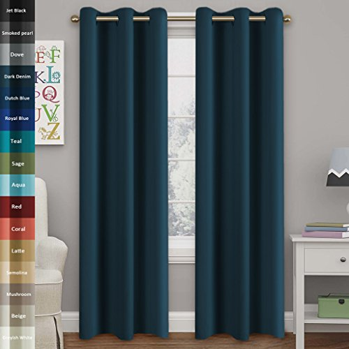 kout drapes, Room Darkening, Dark Denim, Themal Insulated, Grommet/Eyelet Top, Nursery/Living Room Curtains Each Panel 42
