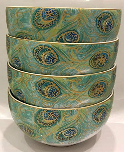 222 Fifth Lakshmi Peacock Cereal Bowls, Set of 4 ()