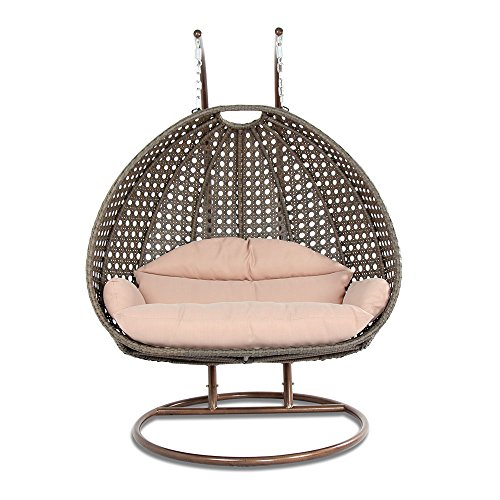 Island Gale Luxury 2 Person Wicker Swing Chair 2 Person X-Large, Latte Rattan Latte Cushion