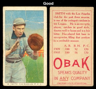 1911 obak (T212) Regular (Baseball) Card# 140 H Smith of the Los Angeles Angels Good Condition