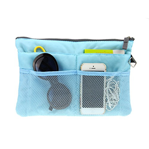 FakeFace Multi-funtional Nylon Zipper Travel Handbag Pouch / Bag in Bag / Insert Organizer / Cosmetic Toiletry Bag Pocket / Makeup Bag / Tidy Bag Blue -