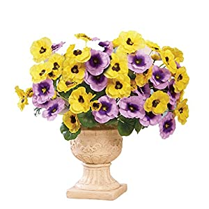Collections Etc Indoor or Outdoor Artificial Pansies - Set of 3 42
