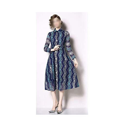 HEYG-Dress Vestir Moda Casual Vestido Largo con Volante sobre la ...