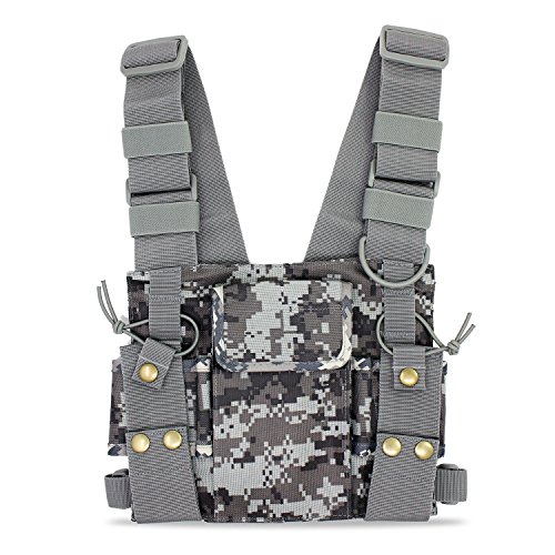 abcGoodefg Radio Chest Harness Chest Front Pack Pouch Holster Vest Rig for Two Way Radio Walkie Talkie(Rescue Essentials) (Camouflage)