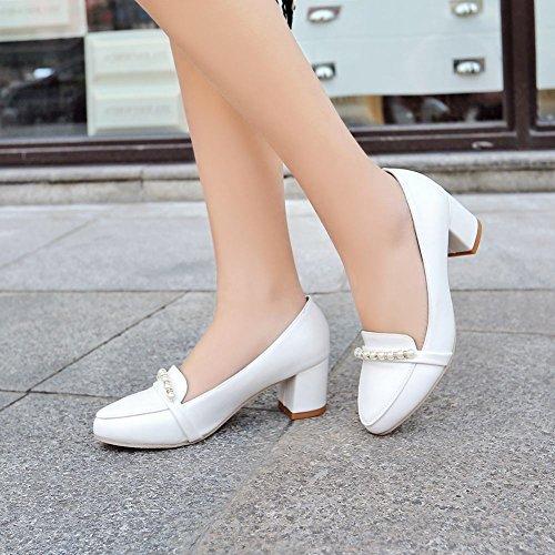 MissSaSa Damen Chunky heel Pointed Toe Pumps mit künstlich Perlen Weiß