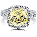 by lucky Elegance Women 925 Sterling Silver Princess Cut Citrine Ring Wedding Jewelry New (8)