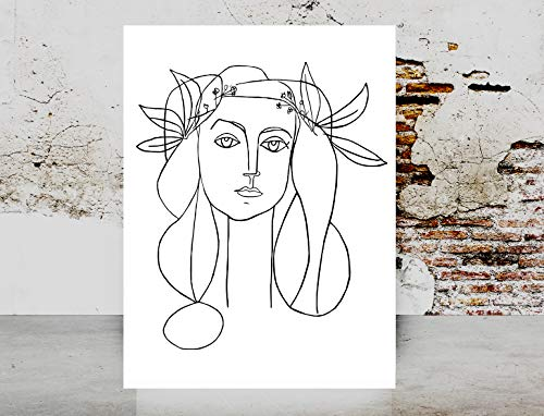 Fashion wall art print - Picasso Dove Of Peace Woman Face Art Picasso Girl Line Drawing Sketch Female Poster on Fine Art Paper 1040