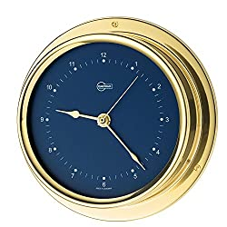 BARIGO Regatta Series Quartz Ship's Clock - Brass Housing - Blue 4. [684MSBL]