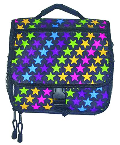 AKA Sport | Star Print Messenger Insulated Lunch Bag Black with Multi Color Stars (9.50L x 3.50W x 7.00H (Infants Bahama Sequins)