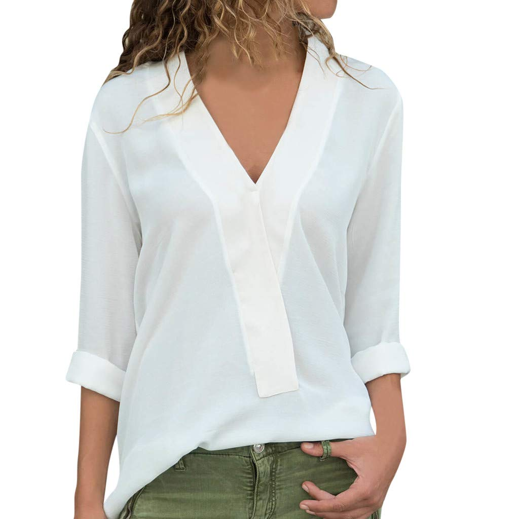 Womens Fashion Chiffon Shirts Plus Size Long Sleeve V-Neck Solid Blouse Casual Loose Tops Tunic(White,XL)
