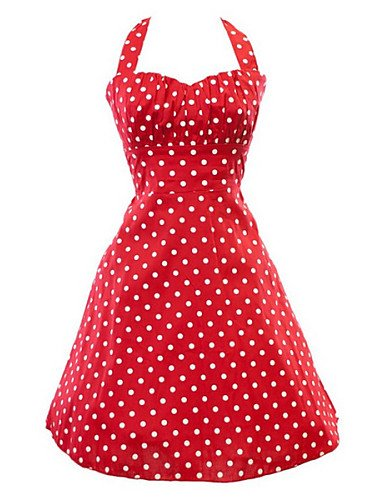 PU&PU Robe Aux femmes Vintage , Points Polka Licou Mi-long Coton / Polyester , red-m , red-m