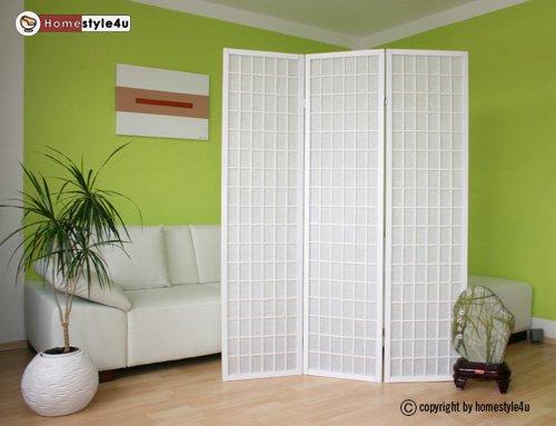 Holz Paravent Shoji Raumteiler Trennwand in weiß