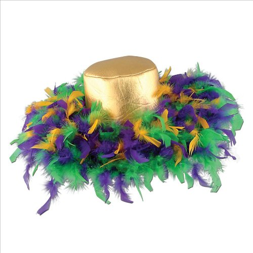 [Mardi Gras Feather Hat (golden-yellow, green, purple) Party Accessory  (1 count)] (Hat Mardi Gras Costumes Accessories)