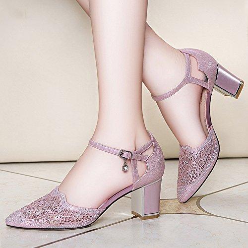 SHOESHAOGE EU38 Las Heel Zapatos con Gruesas Femenina Broca La Mujeres De De De para Sandalias Punta La Agua Zapatos Punta De Moda Eu39 High FrxFpwqg