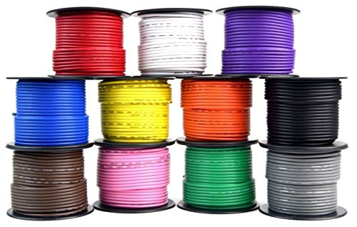 (14 GA 100 Feet Primary All Purpose Auto Remote Power Ground Wire Cable 11 Rolls)