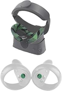 Esimen VR Face Silicone Mask Pad & Face Cover for Oculus Rift S Joystick Grip Caps Cover Sweatproof Lightproof Face Cushion (Camouflage)