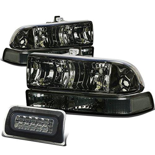For Chevy S10 Pair of Smoke Lens Clear Corner Headlight+LED 3rd Brake Light