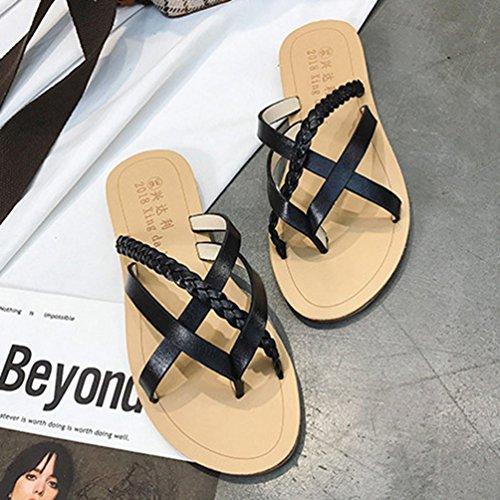 Tongs Flop Sandale Chaussures JITIAN Plates Lanières Plage Sandales Mode Casual Noir Gladiateur Flip Femmes 6wv1dwq