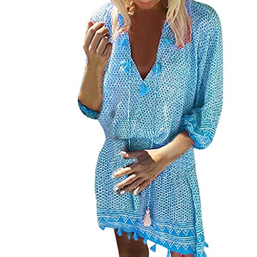 BAOHOKE Womens 3/4 Sleeve Boho Printed Summer V Neck Mini Dresses Beach Tunic Tassel Loose Dress(Blue,L)