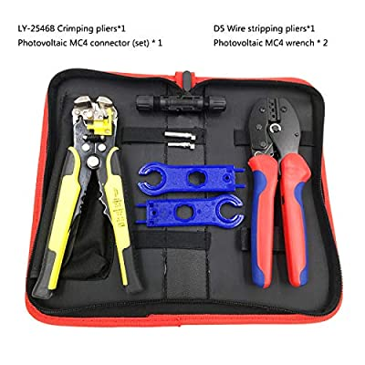 Photovoltaic Solar Mc4 Connector Kit Electrician Crimping Plier Multifunction Wire Stripper Tool Bag Bit Set Hand Tools Kit Suit