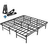 HOMUS King Platform Bed Frame/16 Inch High Sturdy Steel Mattress Base/Easily Assembly by 8 Bolts/No Box Spring Needed/Non Slip/Quiet Noise Free/Solid/ Black King