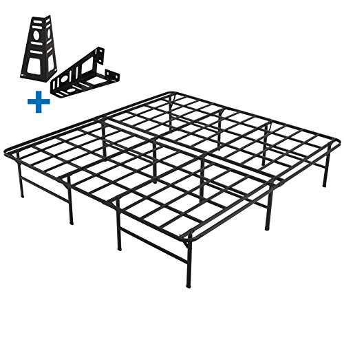 HOMUS Cal King Platform Bed Frame/16 Inch High Sturdy Steel Mattress Base/Easily Assembly by 8 Bolts/No Box Spring Needed/Non Slip/Quiet Noise Free/Solid/Black