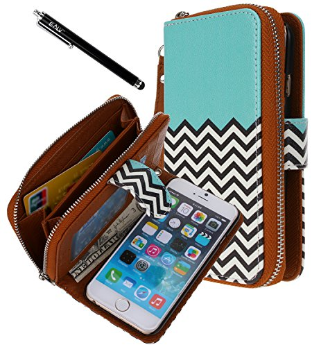 iPhone 6 Case, iPhone 6 Flip Case - E LV Deluxe PU Leather Folio Wallet Flip Case Cover for iPhone 6 (2014) (AT&T, T-Mobile, Sprint, Verizon, International Unlocked) with 1 Black Stylus - PURSE ZIGZAG (T Mobile I Phone 6 Case)