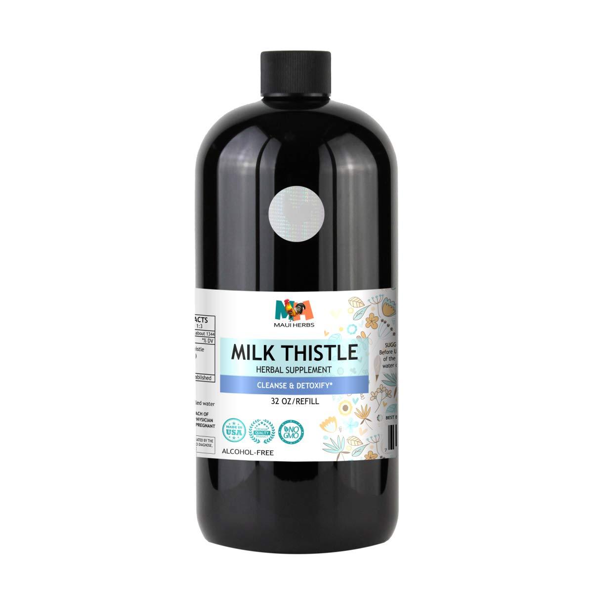 Milk Thistle Tincture Alcohol-Free Liquid Extract, Organic Milk Thistle Seed (Silybum marianum) (32 FL OZ)