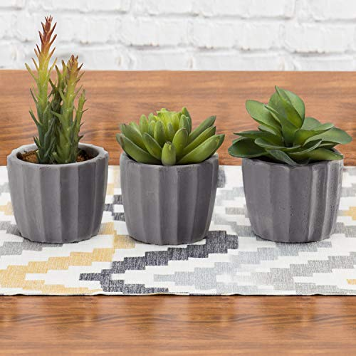 MyGift Miniature Artificial Succulents in Fluted Gray Clay Planters, Set of 3 (Assortment 4)
