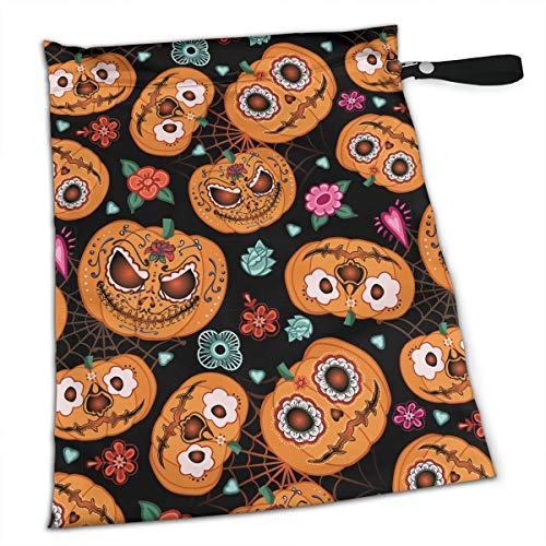 YyTiin Reusable Snack and Everything Bags - Halloween Pumpkin Flowers and Spiderweb,Large]()