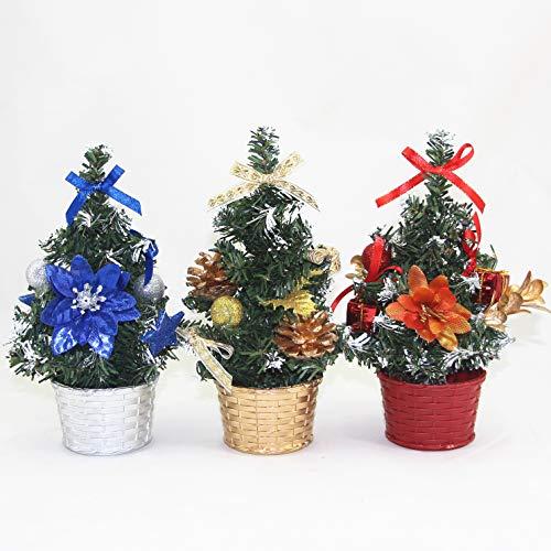 HUIJIN 3pcs Mini Christmas Tree Xmas Decor Table Decoration Small Party Ornament Xmas Festival Gift, 20cm (Blue+Gold+Red)