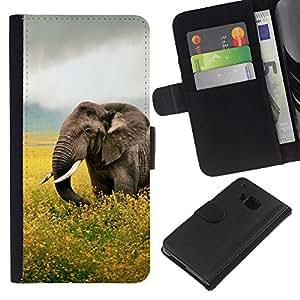 KLONGSHOP // Tirón de la caja Cartera de cuero con ranuras para tarjetas - Happy Elephant - HTC One M9 //