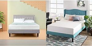 Zinus Dachelle Upholstered Tufted Premium Platform Bed, King, Grey Sand with Zinus Green Tea 12-inch Memory Foam Mattress, King
