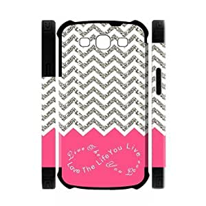 Live the Life You Love, Love the Life You Live.Pink White Grey Chevron(NOT ACTUAL GLITTER) Unique Custom Samsung Galaxy S3 I9300 Best Durable PVC Two-In-One White/Black Cover Case