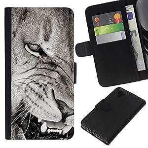 KLONGSHOP // Tirón de la caja Cartera de cuero con ranuras para tarjetas - Dientes de león Angry Negro nariz blanca - LG Nexus 5 D820 D821 //