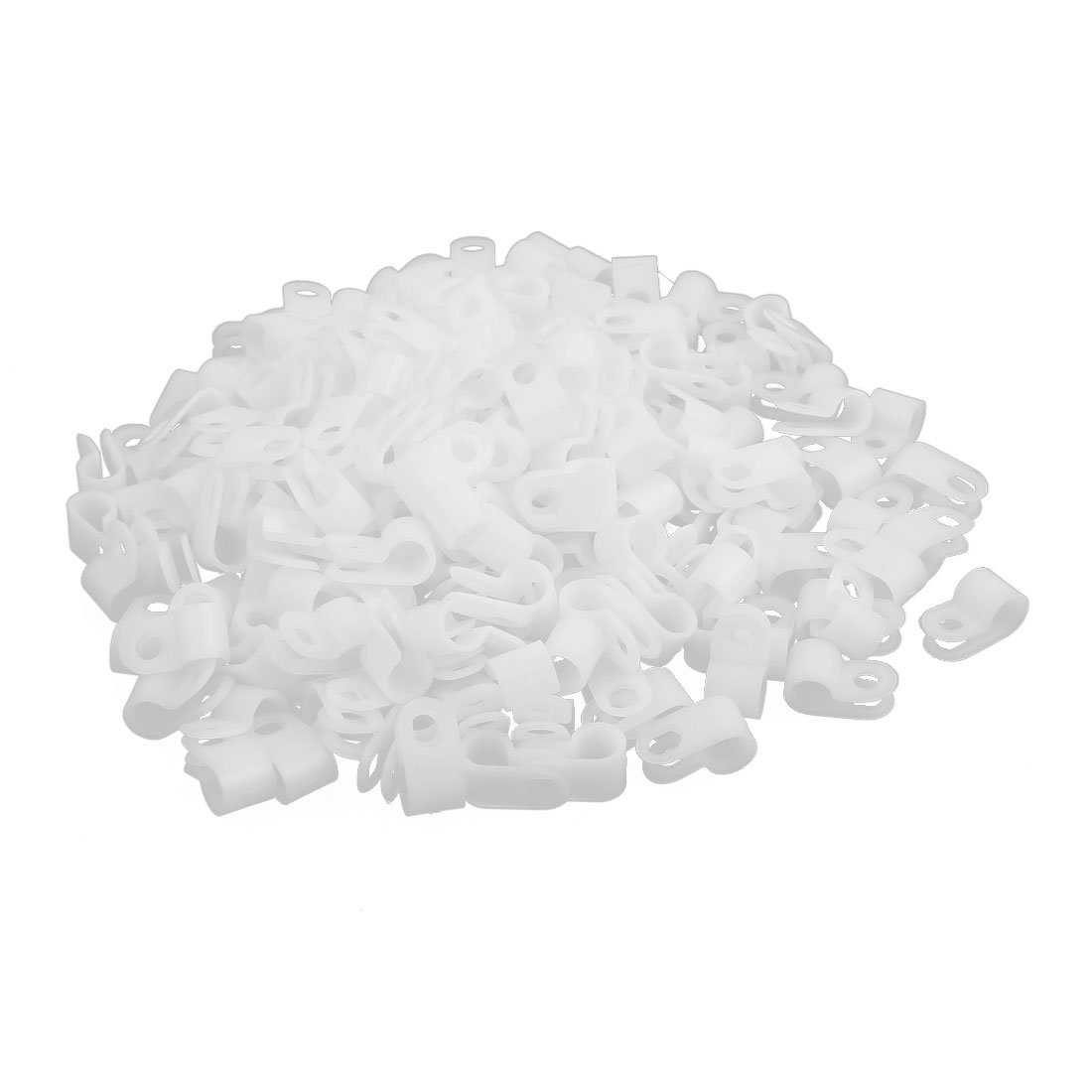 Aexit 200Pcs Off-White Nylon R-Type Cable Clamp 1/4' for Home Automotive Marine Office and More
