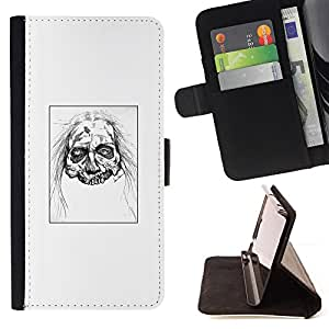 KingStore / Leather Etui en cuir / Sony Xperia Z3 Compact / Zombie Head - White Walker