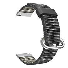 Universal 20mm Quick Release Watch Band, MoKo Fine Woven Nylon Replacement Band Sport Strap for Samsung Gear S2 Classic/Motorola Moto 360 2nd Gen Men's 42mm/Ticwatch 2nd/Huawei Watch 2, Black