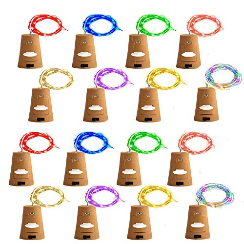 (16 Pack) RENYD Wine Bottle String LED Lights with Cork,Pumpkin Lantern Decorative Lights,LED Cork Lights for Copper Wire Bottle Lights for Party,DIY, Decoration, Christmas, Halloween,Wedding-8 Colors