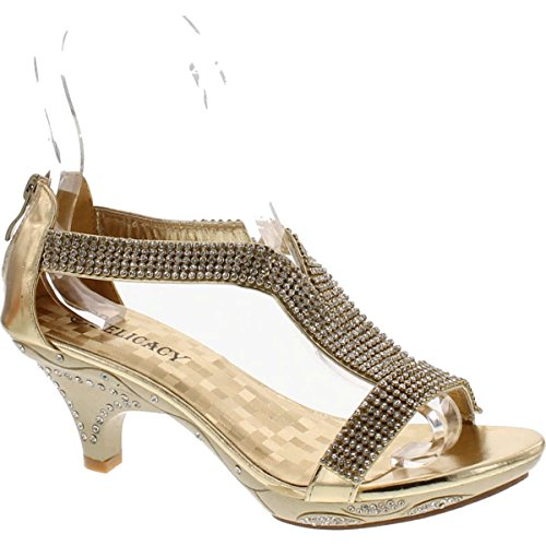 Heel Gold Evening Prom Shoes (Delicacy Women Lety73 Rhinestone T-Strap Evening Dancing Dress Low Heel Sandals,Gold,7)